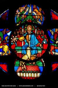 Détail des vitraux sud de la Rose de Notre-Dame de Paris