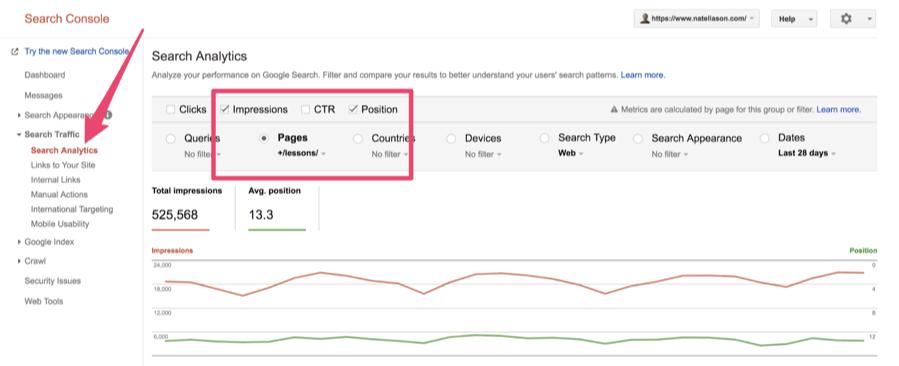 Impressions et positions via la Search console de Google